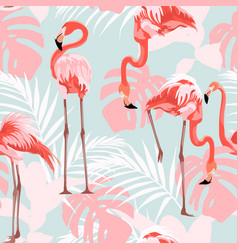 pink flamingo graphic palm leaves blue background vector image