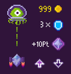 Pixel game battle spaceship and ufo vector