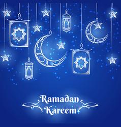 ramadan kareem blue background design vector image
