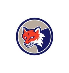 Red fox head angry circle retro vector