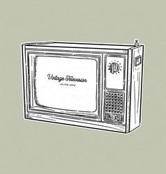 retro television tv old style sketch vector image