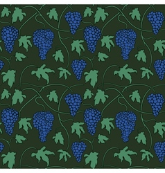 Seamless pattern with bunches and leaves of grapes vector image