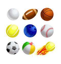 set cartoon balls for sport and leisure golf vector image