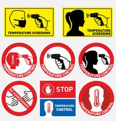 Set checking human body temperature signs vector
