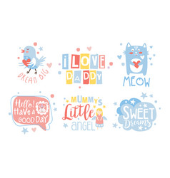 Set cute pastel colors cartoons vector