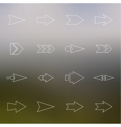 Set hollow arrows on a light background vector image