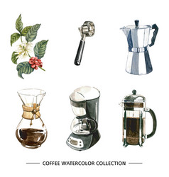 set isolated watercolor coffee maker on white vector image