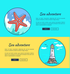 Set of banners dedicated to sea adventures vector