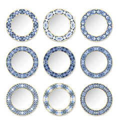 set of decorative plates with a circular blue vector image