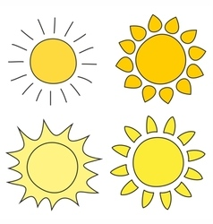 Set of hand drawn yellow sun icon vector