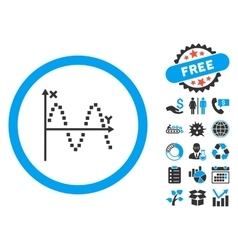 Sine plot flat icon with bonus vector