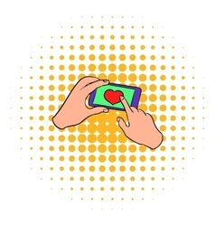 smartphone in hands with heart on screen icon vector image