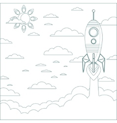 Stock of a Cartoon Flying Rocket Contour vector image