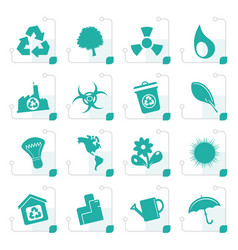 Stylized simple ecology and recycling icons vector