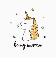 t-shirt design with unicorn and gold glitter vector image
