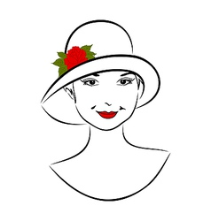 vintage girl face in hat with rose- vector image