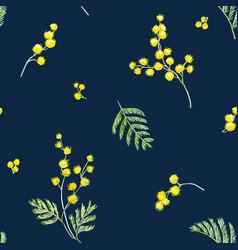 watercolor mimosa pattern vector image