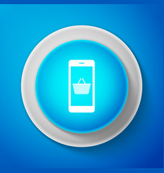 white mobile phone and shopping basket icon vector image