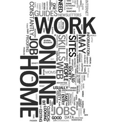 Work at home online jobs text word cloud concept vector