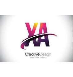 Xa x a purple letter logo with swoosh design vector