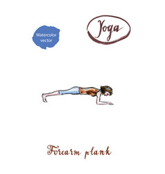 young woman doing forearm plank pose in yoga vector image