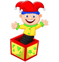 Amusing toy jumping out from a box vector image