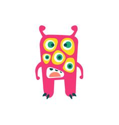 cute pink cartoon monster fabulous incredible vector image