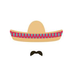 mexican man with sombrero and mustache sombrero vector image vector image