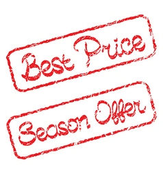 Rubber stamps with text Best price and Season vector image