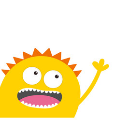 yellow monster head with two eyes teeth tongue vector image