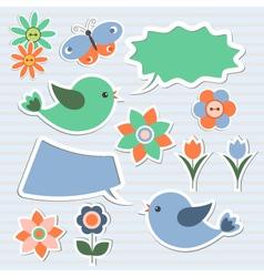 Bubbles speech and birds vector image