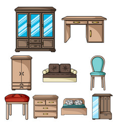 furniture and home interior set icons in cartoon vector image vector image