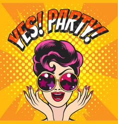 happy girl in glasses and wording yes party vector image