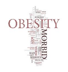 Morbid obesity details text background word cloud vector