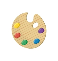 Wooden art palette with paints icon cartoon style vector image
