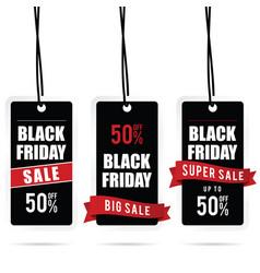 black friday big sale tag set in color vector image