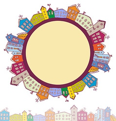 Collection of houses vintage on white background vector image
