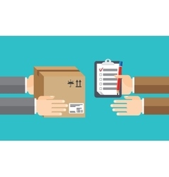 delivery service receiving package from hand vector image