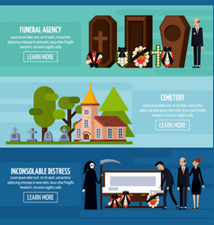funeral services flat banner set vector image