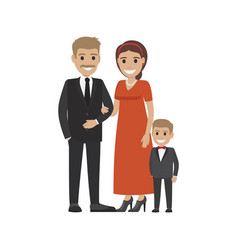 married couple in expensive cloth and little son vector image