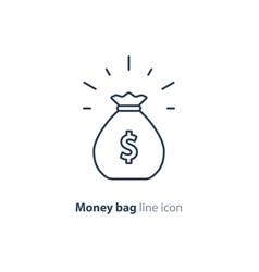 sack of money finance saving award prize mono line vector image vector image