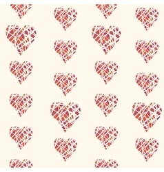seamless pattern with hand drawn red hearts vector image