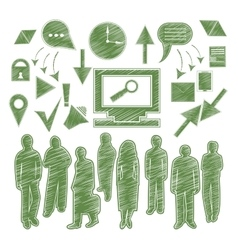 Set isolated icon people arrow gadgets vector image