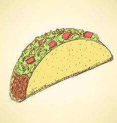 Sketch mexican taco in vintage style vector image