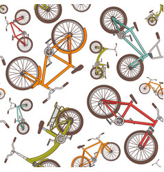colorful cartoon bicycles seamless pattern vector image vector image