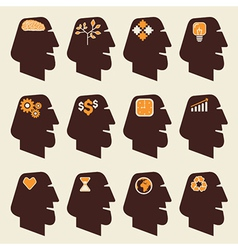 different icon in human head vector image