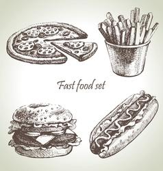 Fast food set hand drawn vector image vector image