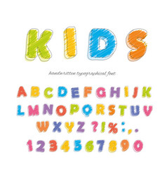 font pencil crayon for kids handwritten vector image vector image