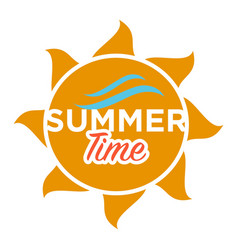 summer time text in sun vector image vector image