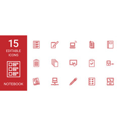 15 notebook icons vector image